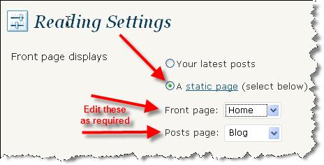 pjCheviot WordPress Reading Settings